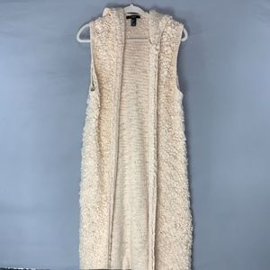 Forever 21 Sleeveless Sweater Duster with Hood
